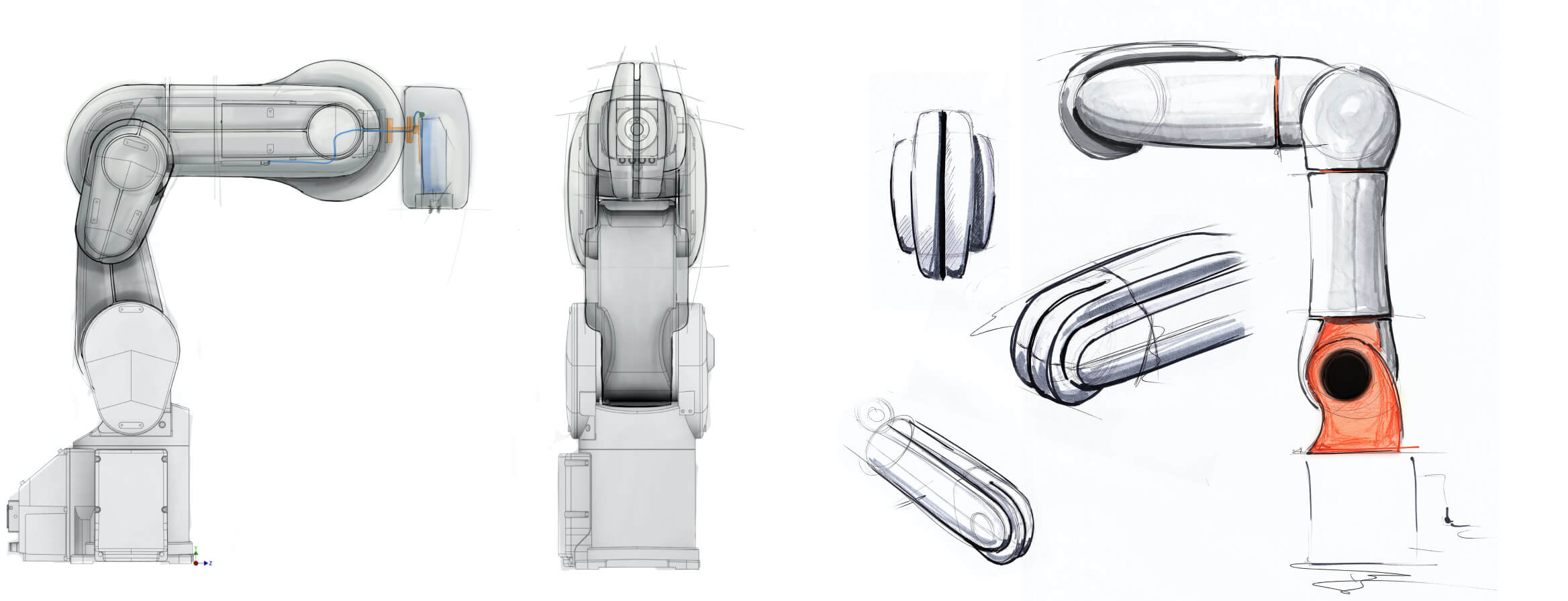 sketches of industrial robots covered with airskin